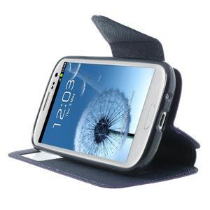 Peněženkové pouzdro s okýnkem pro Samsung Galaxy S3 / S III - fialové - 5