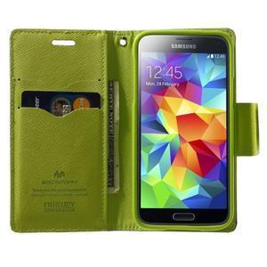 Diary PU kožené pouzdro na Samsung Galaxy S5 mini - tmavěmodré - 5