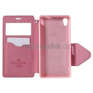 Peněženkové pouzdro s okýnkem pro Sony Xperia M4 Aqua - růžové - 5
