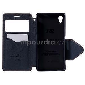 Peněženkové pouzdro s okýnkem pro Sony Xperia M4 Aqua - oranžové - 5