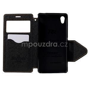 Peněženkové pouzdro s okýnkem pro Sony Xperia M4 Aqua - žluté - 5