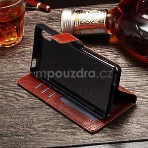 Koženkové pouzdro Sony Xperia M4 Aqua - hnědé - 5