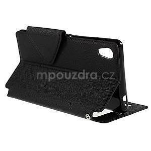 Peněženkové pouzdro s okýnkem pro Sony Xperia M4 Aqua - černé - 5