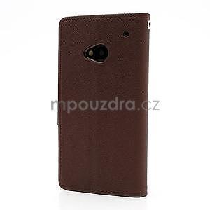 Peněženkové PU kožené pouzdro pro HTC One M7 - hnědé - 5