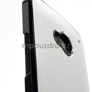 Broušený hliníkový plastový kryt na HTC One M7 - stříbrný - 5