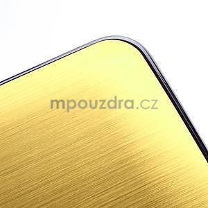 Broušený hliníkový plastový kryt na HTC One M7 - zlatý - 5
