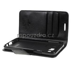 Černé PU kožené peněženkové pouzdro na Samsung Galaxy A3 - 5