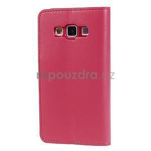 Rose PU kožené peněženkové pouzdro na Samsung Galaxy A3 - 5