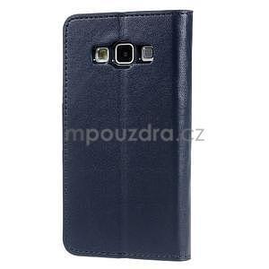 Tmavě modré PU kožené peněženkové pouzdro na Samsung Galaxy A3 - 5