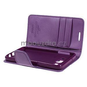 Fialové PU kožené peněženkové pouzdro na Samsung Galaxy A3 - 5