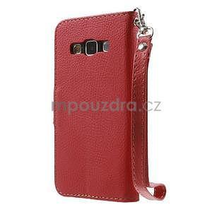 Červené/hnědé PU kožené pouzdro na Samsung Galaxy A3 - 5