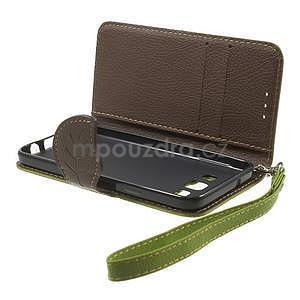 Zelené/hnědé PU kožené pouzdro na Samsung Galaxy A3 - 5