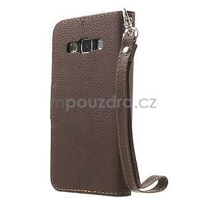 Hnědé/zelené PU kožené pouzdro na Samsung Galaxy A3 - 5