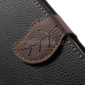 Černé/hnědé PU kožené pouzdro na Samsung Galaxy A5 - 5