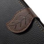 Černé/hnědé PU kožené pouzdro na Samsung Galaxy A5 - 5/7