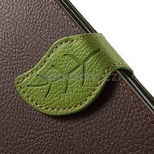 Hnědé/zelené PU kožené pouzdro na Samsung Galaxy A5 - 5
