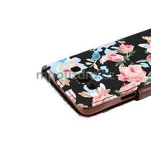 Květinové peněženkové pouzdro na Samsung Galaxy A5 - černé - 5