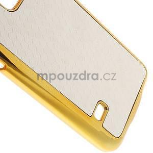Bílé elegantní plastové pouzdro se zlatým lemem na Samsung Galaxy S5 mini - 5
