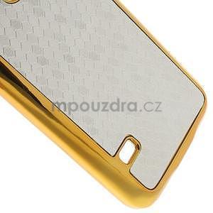 Stříbrné elegantní plastové pouzdro se zlatým lemem na Samsung Galaxy S5 mini - 5
