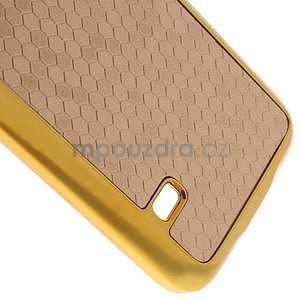 Béžové elegantní plastové pouzdro se zlatým lemem na Samsung Galaxy S5 mini - 5