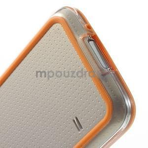 Oranžový gelový kryt s plastovými lemy na Samsung Galaxy S5 mini - 5