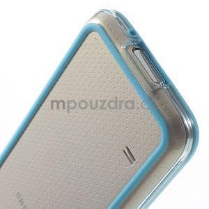 Světle modrý gelový kryt s plastovými lemy na Samsung Galaxy S5 mini - 5