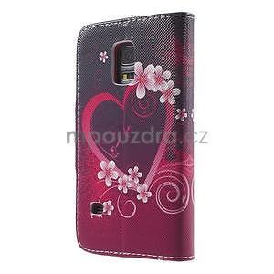 Zapínací peněženkové pouzdro na Samsung Galaxy S5 mini - květinové srdce - 5