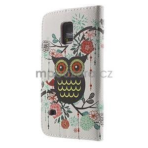 Zapínací peněženkové pouzdro na Samsung Galaxy S5 mini - květinová sova - 5