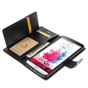 Luxusní PU kožené pouzdro na mobil LG G3 - černé - 5