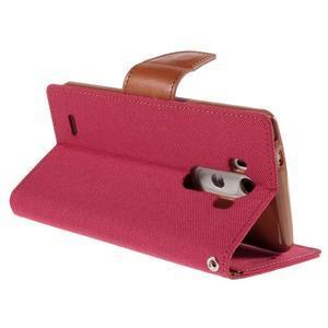 Canvas PU kožené/textilní pouzdro na LG G3 - rose - 5