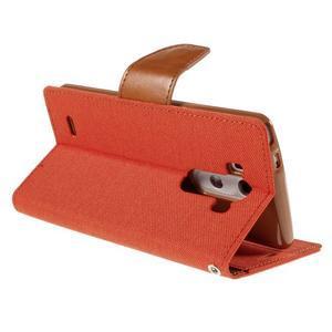Canvas PU kožené/textilní pouzdro na LG G3 - oranžové - 5