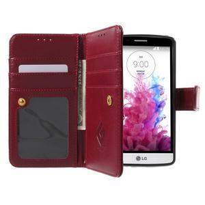 Patrové peněženkové pouzdro na mobil LG G3 - vínově červené - 5
