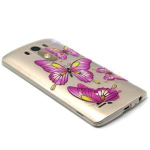 Průhledný gelový obal na LG G3 - motýlci - 5