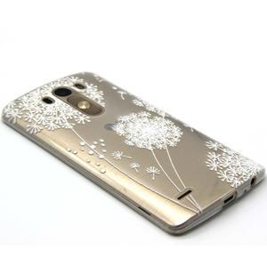 Průhledný gelový obal na LG G3 - bílá pampeliška - 5