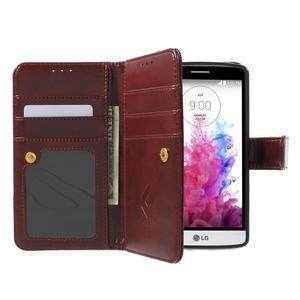 Patrové peněženkové pouzdro na mobil LG G3 - hnědé - 5