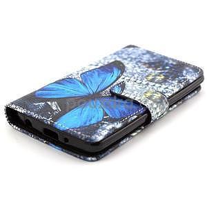 Obrázkové peněženkové pouzdro na LG G3 s - modrý motýl - 5