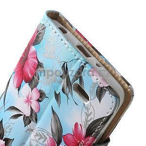 Elegantní lilie peněženkové pouzdro na LG G3 s - tyrkysové - 5