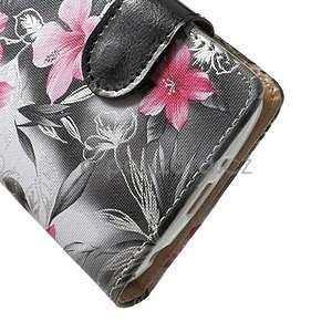 Elegantní lilie peněženkové pouzdro na LG G3 s - černé - 5