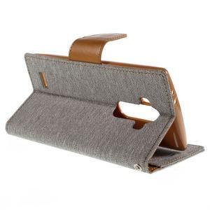 Canvas PU kožené/textilní pouzdro na mobil LG G4 - šedé - 5
