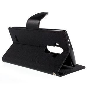 Canvas PU kožené/textilní pouzdro na mobil LG G4 - černé - 5