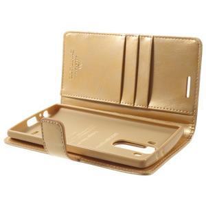 Luxury PU kožené pouzdro na mobil LG G4 - zlaté - 5