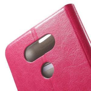 Horse PU kožené peněženkové pouzdro na LG G5 - rose - 5