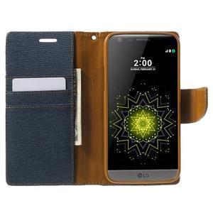 Canvas PU kožené/textilní pouzdro na LG G5 - tmavěmodré - 5
