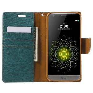 Canvas PU kožené/textilní pouzdro na LG G5 - zelené - 5