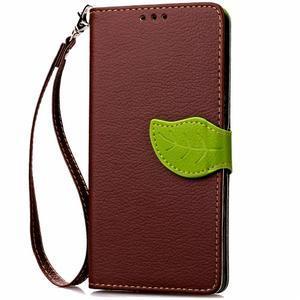 Leaf PU kožené pouzdro na LG G5 - hnědé - 5
