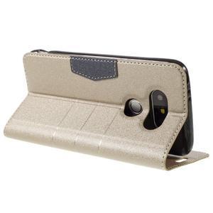 Klopové peneženkové pouzdro na LG G5 - zlaté - 5