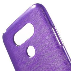 Hladký gelový obal s broušeným vzorem na LG G5 - fialový - 5