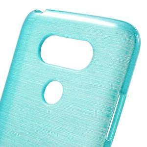 Hladký gelový obal s broušeným vzorem na LG G5 - tyrkysový - 5