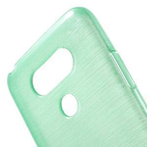 Hladký gelový obal s broušeným vzorem na LG G5 - cyan - 5