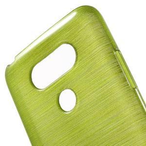 Hladký gelový obal s broušeným vzorem na LG G5 - zelený - 5